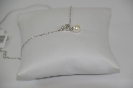 White Gold Heart Shape 0.12ct. Genuine Diamonds Fresh Water Pearl Drop 14k Necklace