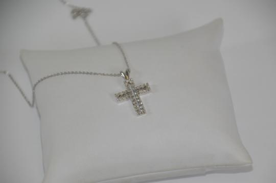 White Gold 0.30ct. Genuine Diamond Cross 14k Solid Necklace Image 1