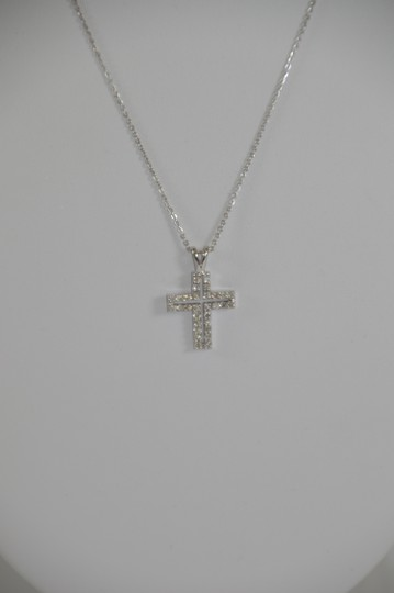 White Gold 0.30ct. Genuine Diamond Cross 14k Solid Necklace Image 3