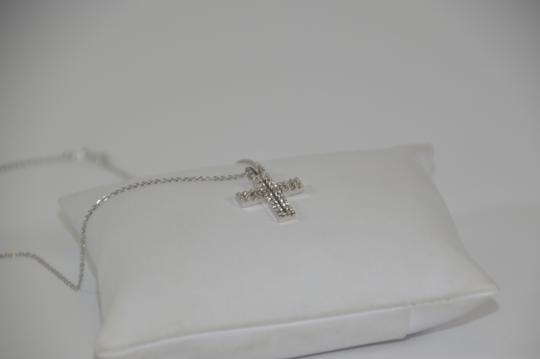 White Gold 0.30ct. Genuine Diamond Cross 14k Solid Necklace Image 4