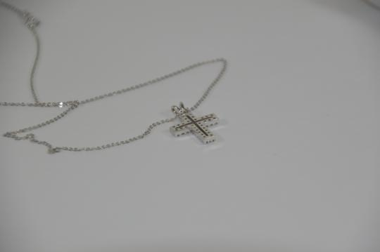 White Gold 0.30ct. Genuine Diamond Cross 14k Solid Necklace Image 6