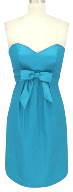 Preload https://item3.tradesy.com/images/blue-satin-sweetheart-bow-cocktail-sizelrg-knee-length-formal-dress-size-12-l-109667-0-0.jpg?width=400&height=650