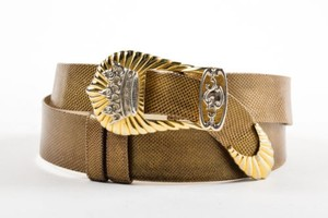 Judith Leiber Vintage Judith Leiber Bronze Gold Silver Tone Reptile Leather Crown Buckle Belt