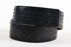 Lanvin Lanvin Black Leather Scalloped Trim Belt