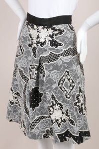 Naeem Khan Black White Silk Skirt
