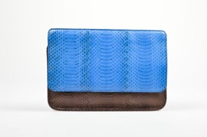 Bottega Veneta Brown And Embossed Leather Frame Envelope Blue Clutch