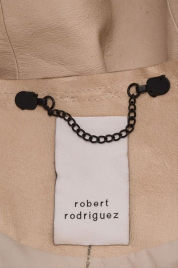Robert Rodriguez Beige Leather Braided Trim Cropped Jacket lovely