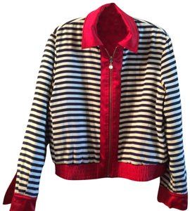 St. John Gold Hardware Red/blue & white stripe reversable Jacket