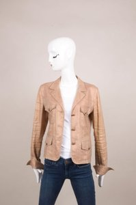 Chanel Chanel Gold Linen Silk Blend Metallic Long Sleeve Blazer Jacket