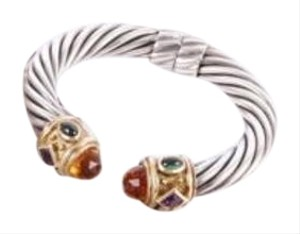 David Yurman David Yurman Sterling Silver18k Gold Citrine Renaissance Hinged Bangle
