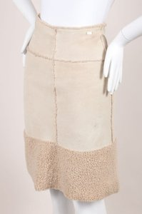Chanel 00a Beige Suede Skirt