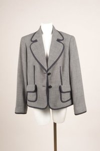 Escada Escada Navy White Wool Stitch Trim Blazer