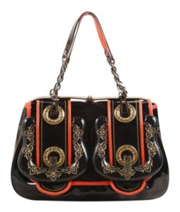 Fendi Black Red Patent Leather Acrylic Filigree Buckle Flap Satchel in Multi-Color