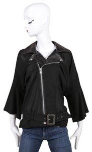Junya Watanabe Black Knit Leather Collar Belted Moto Crop Sleeve Jacket