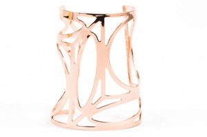 Pierre Hardy Pierre Hardy Rose Gold Tone Cut Out Geometric Wide Cuff Bracelet