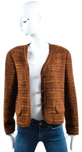 Chanel Boutique 98a Orange Wool Tweed Ls Boxy Cropped Blazer Brown Jacket