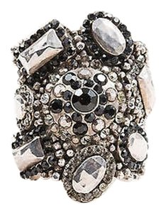 Other Chantal Thomass Silver Tone Black Metal Crystal Embellished Wide Cuff Bracelet
