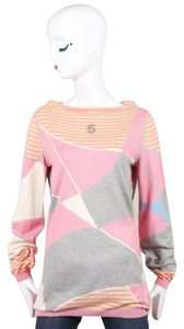 Chanel 08p Pink Gray Multicolor Knit Cashmere Blend Printed 5 Sweater