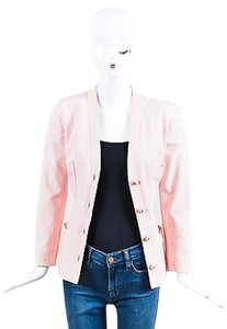 Chanel Chanel Light Pink Poplin Button Up Tailored Long Sleeve Blazer Jacket