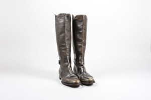 Nina Ricci Green Leather Gray Boots