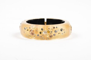 Alexis Bittar Alexis Bittar Gold Tone Carved Lucite Crystal Embellished Hinged Chunky Bangle