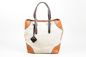 Fratelli Rossetti Brown Tan Woven Leather Trim Tote in Beige
