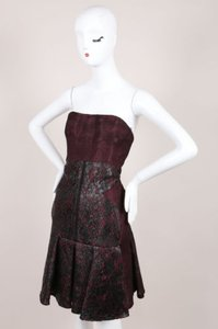 J. Mendel Burgundy Black Silk Dress