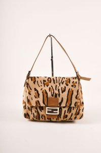 Fendi Tan Brown Leopard Print Shoulder Bag