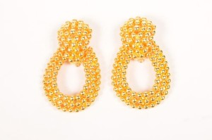 Vintage Gold Caviar Bead Statement Clip On Earrings