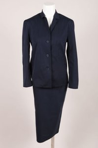 Prada Prada Navy Blue Cotton Top Long Pencil Skirt Set