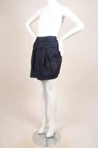 Thakoon Blue Black Brocade Skirt