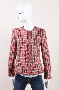 Chanel 02p Pink Cotton Wool Tweed Collarless Cc Button Red Jacket