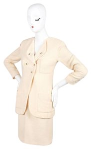 Chanel Vintage Chanel 94p Cream Wool Tweed Cc Button Skirt Suit