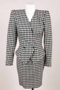 Vintage Emanuel Ungaro Parallele Black White Checkered Wool Skirt Suit