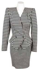 Other Vintage Emanuel Ungaro Parallele Black White Checkered Wool Skirt Suit
