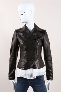 ALAÏA Alaia Leather Cut Out Hem Double Breasted Tailored Leather Black Jacket