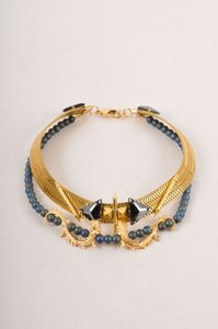Fenton Gold Tone Blue Tone Lions Foot Spiked Collar Necklace