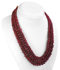 742.00 CTS NATURAL 3 LINE OVAL CUT RED RUBY BEADS NECKLACE