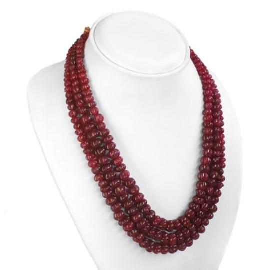 Other 742.00 CTS NATURAL 3 LINE OVAL CUT RED RUBY BEADS NECKLACE