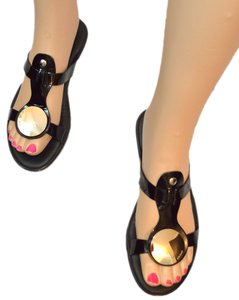 Hogan Black Leather Sandals