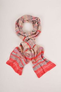 M Missoni Missoni Red Tan Gray Multicolor Stripe Knit Scarf