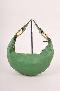 Gucci Green Leather Bamboo Hobo Bag