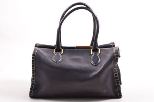 Fendi Tan Leather Wood Tote in Navy
