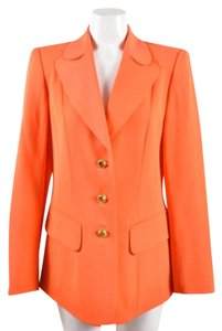 Escada Vintage Bright Orange Wool Long Sleeve Coral Jacket
