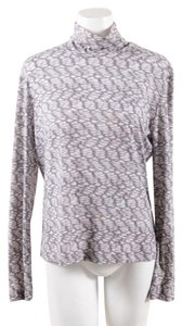 St. John Sport by Marie Gray Green Taupe Silk Stretch Ls Printed Turtleneck Top Gray