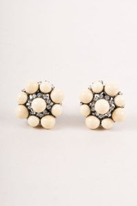 Lawrence Vrba Cream Bead Rhinestone Clip On Earrings