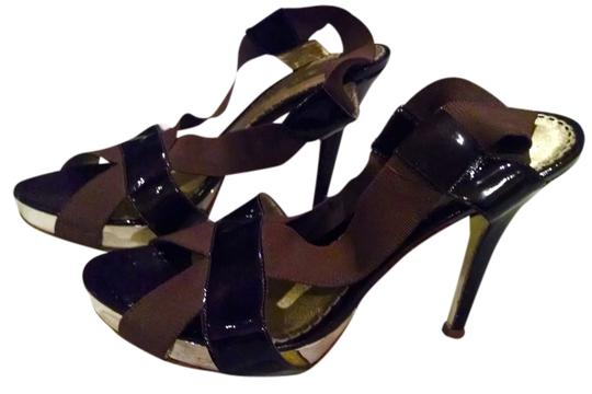 bebe Heels Open Toe Patent Leather Brown Stilettos Brown Gold Pumps