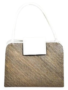Nancy Gonzalez Taupe Crocodile And Woven Straw Tote in White