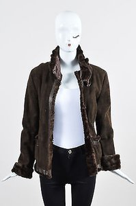 Armani Collezioni Dark Shearling Leather Detachable Head Wrap Jacket Coat