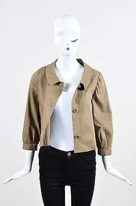 Theory Dark Khaki Tan Stretch Linen Wool Blend Cropped Boxy Beige Jacket